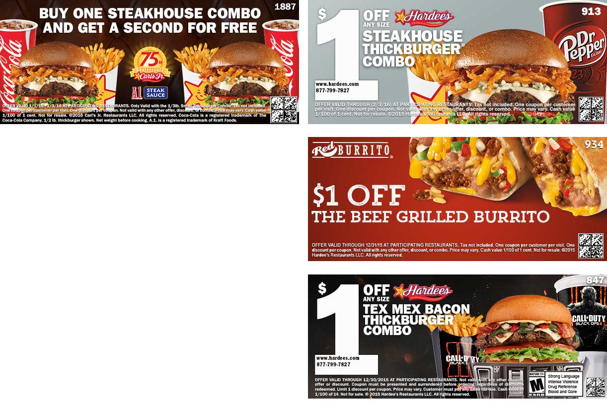 Carls Jr Coupon June 2017 Second steakhouse combo free at Carls Jr. & $1 off at Hardees
