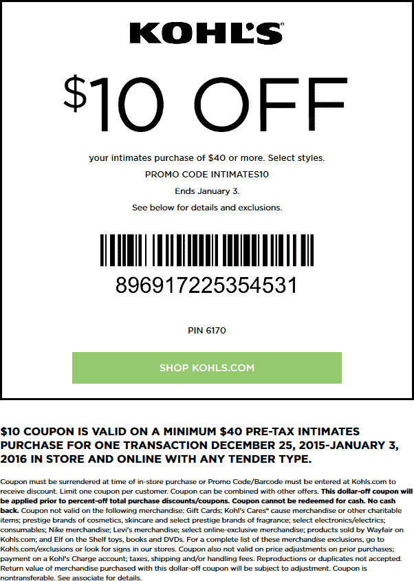 Kohls Coupon January 2018 $10 off $40 on intimates at Kohls, or online via promo code INTIMATES10