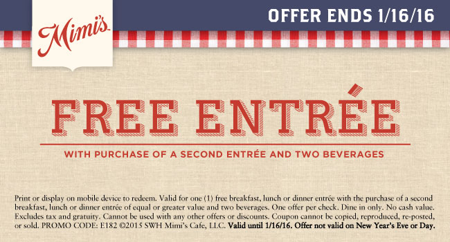 Mimis Cafe Coupon December 2016 Second entree free at Mimis Cafe
