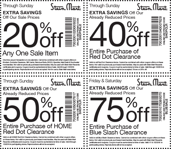 Stein Mart Coupon February 2017 Extra 75% off clearance & more at Stein Mart, or online via promo code BLUESALE