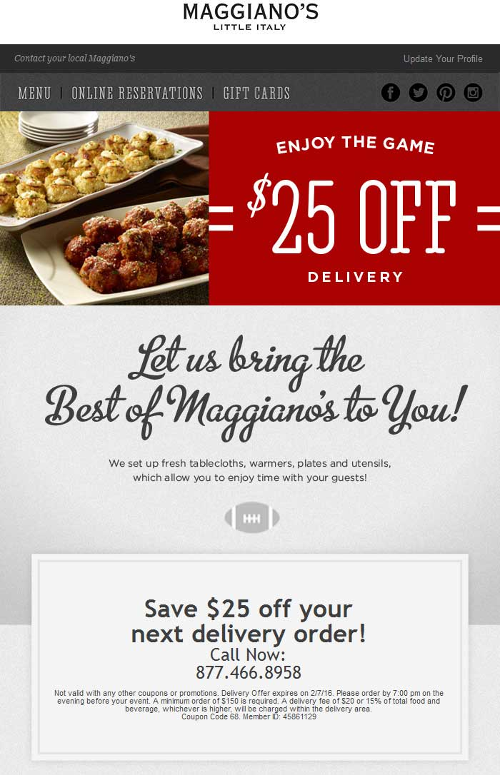Maggianos Little Italy Coupon January 2017 $25 off delivery at Maggianos Little Italy restaurants