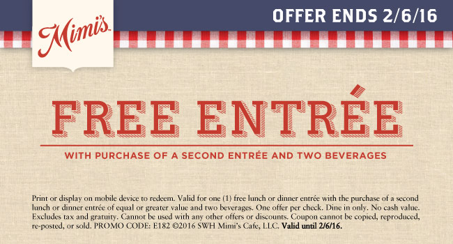 Mimis Cafe Coupon May 2017 Second entree free at Mimis Cafe
