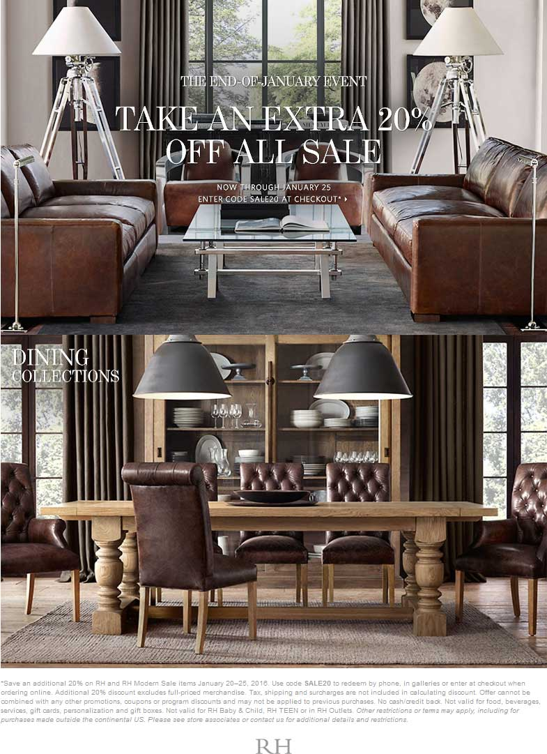 Restoration Hardware Coupon June 2017 Extra 20% off sale items at Restoration Hardware, or online via promo code SALE20