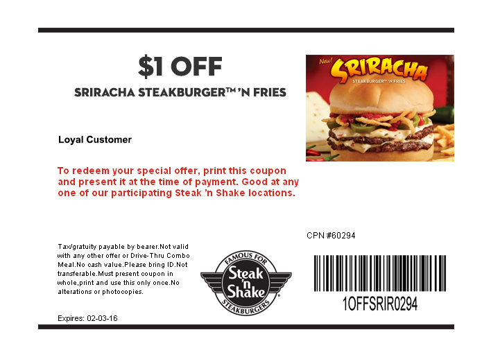 Steak n Shake Coupon May 2017 Shave a buck off your steakburger & fries at Steak n Shake
