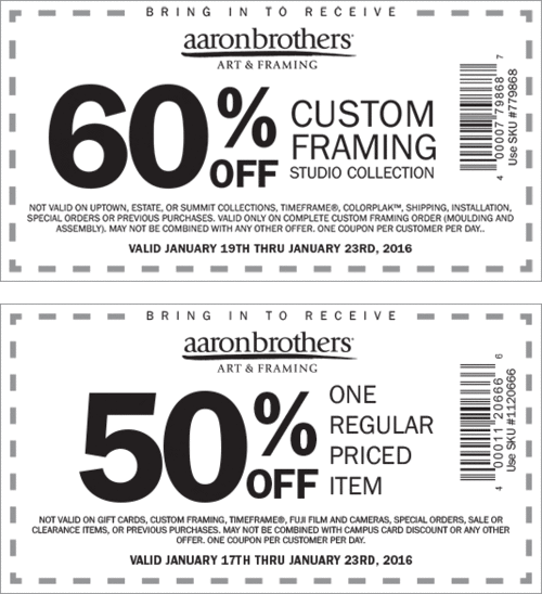 Aaron Brothers Coupon February 2018 50% off a single item at Aaron Brothers art & framing