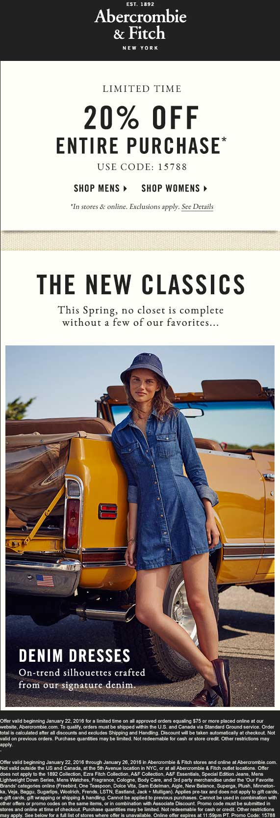 Abercrombie & Fitch Coupon July 2018 20% off at Abercrombie & Fitch, or online via promo code 15788