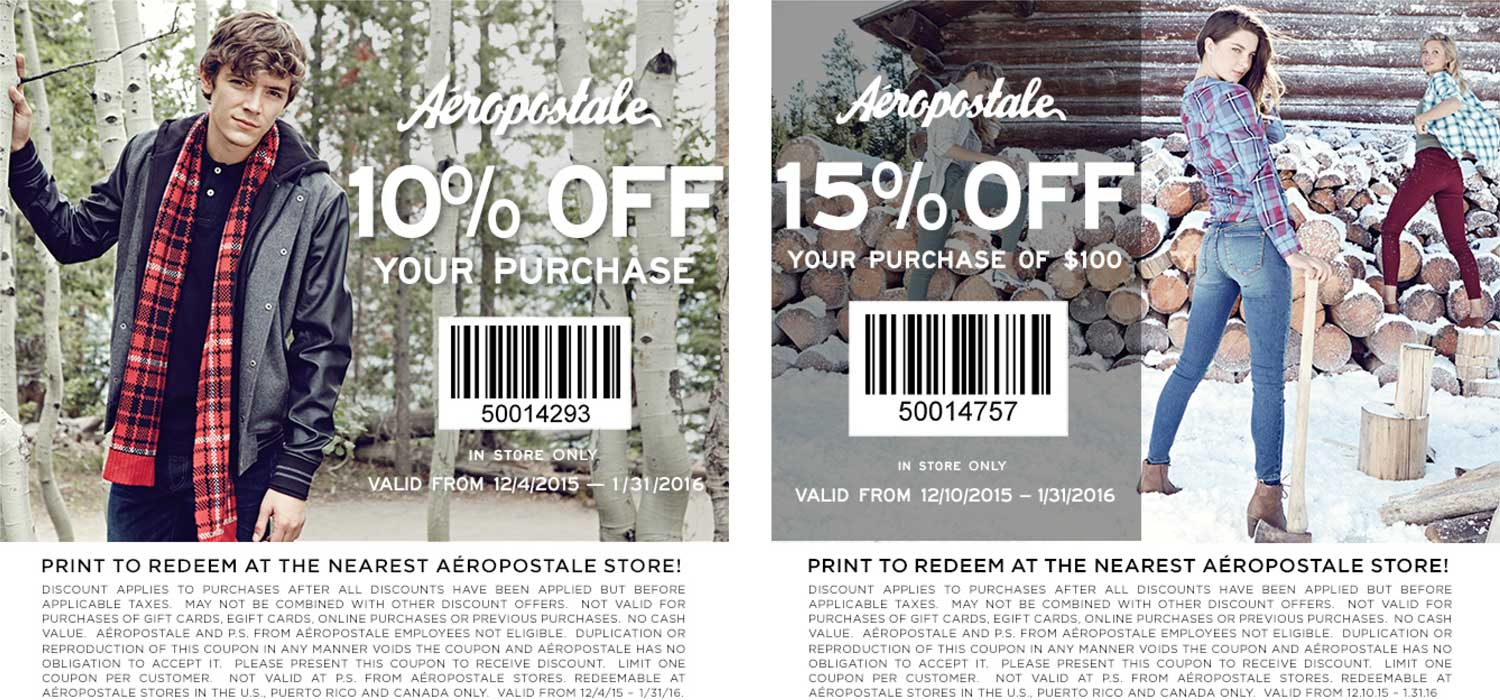 Aeropostale Coupon November 2017 10-15% off at Aeropostale