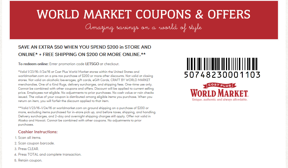 World Market Coupon January 2018 $50 off $20 at Cost Plus World Market, or online via promo code LETSGO