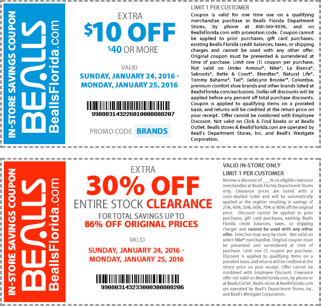 Bealls Coupon March 2018 $10 off $40 & more at Bealls, or online via promo code BRANDS