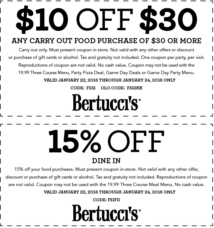 Bertuccis Coupon December 2018 15% off & more today at Bertuccis restaurants