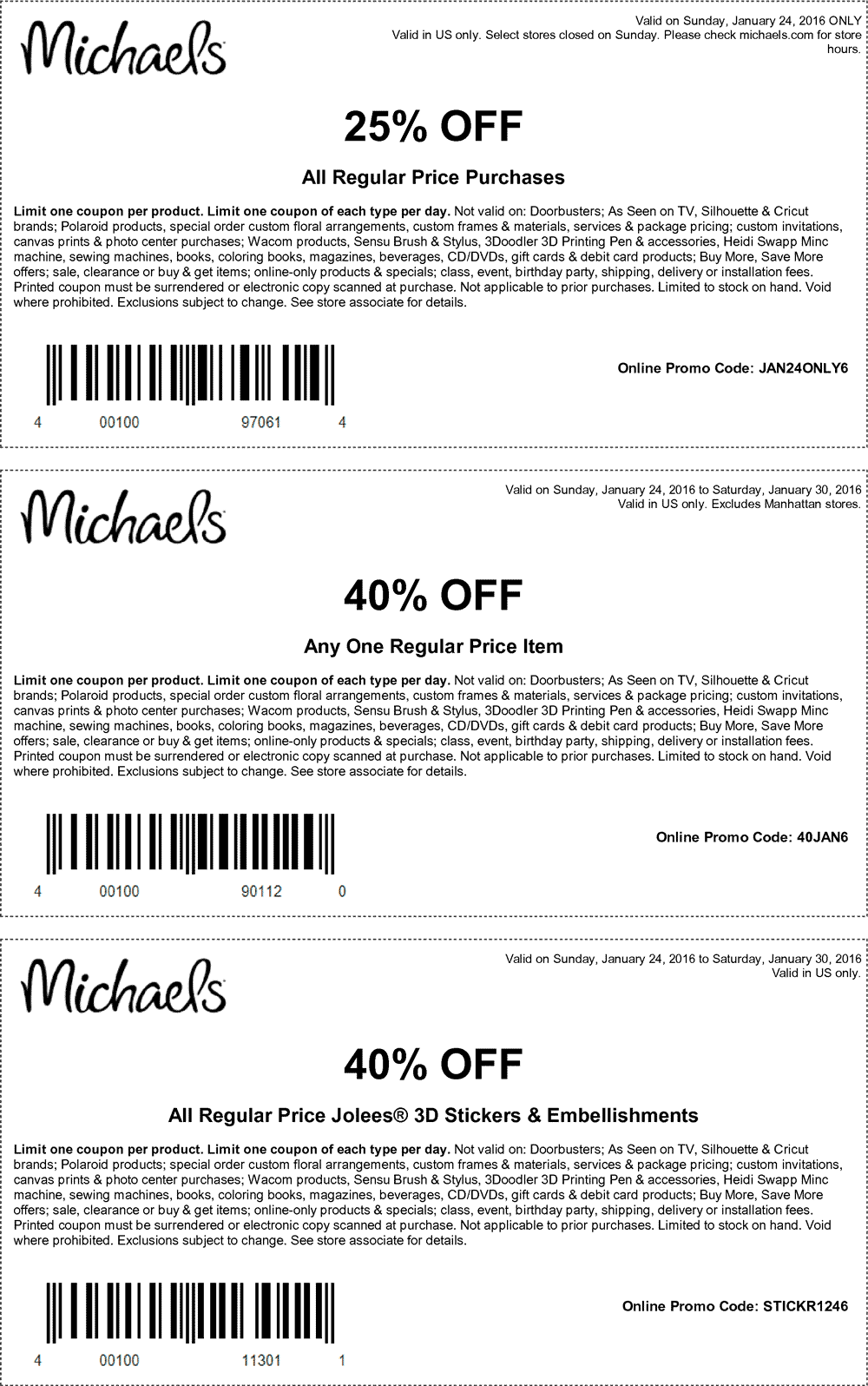 Michaels Coupon December 2018 40% off a single item & more at Michaels, or online via promo code 40JAN6