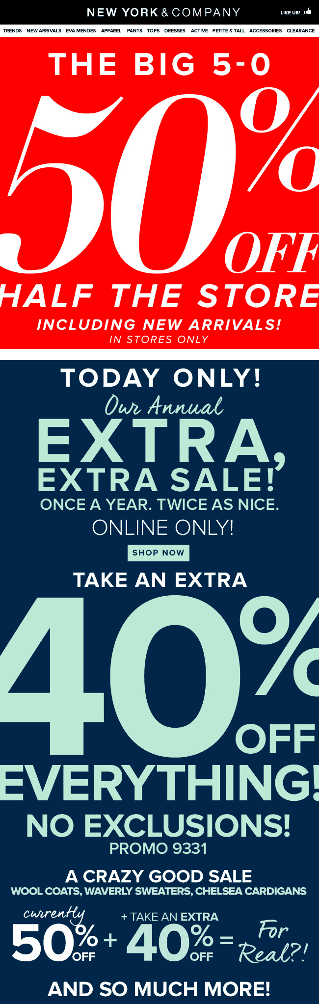 New York & Company Coupon July 2018 50% off today at New York & Company, or 40% online via promo code 9331