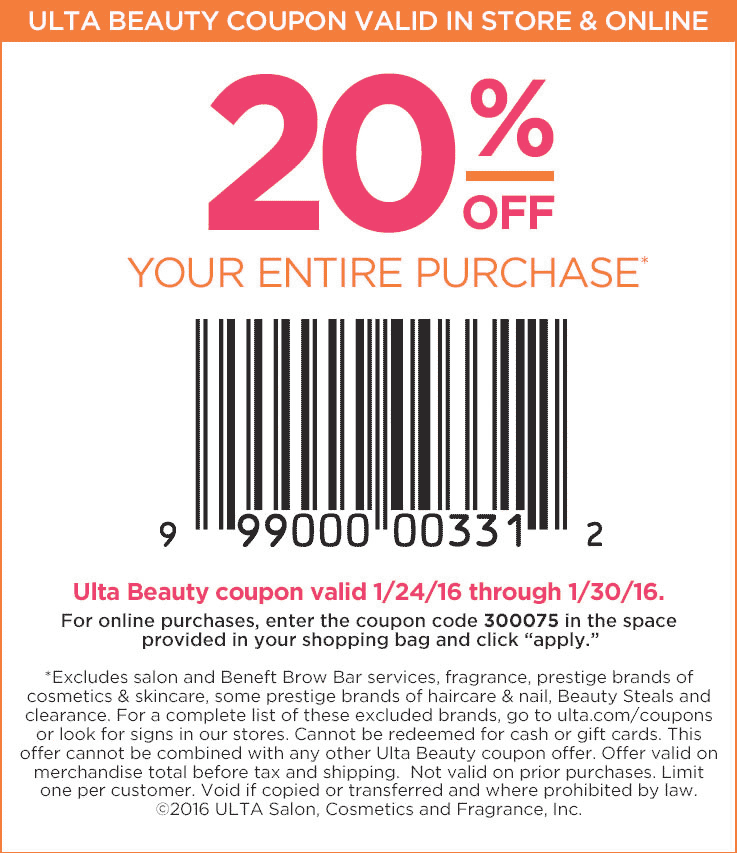 Ulta Beauty Coupon January 2018 20% off at Ulta Beauty, or online via promo code 300075