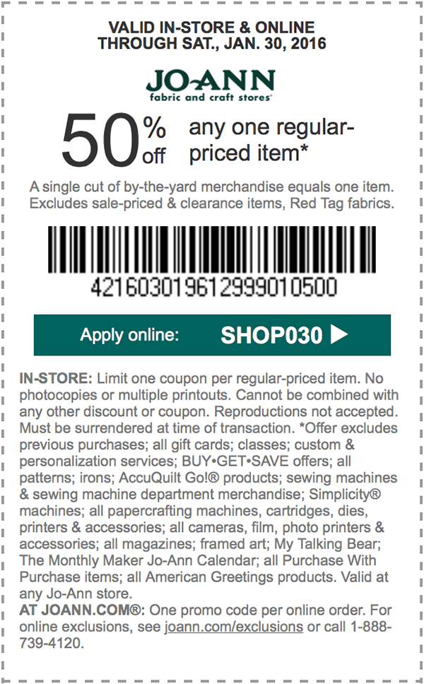 Jo-Ann Fabric Coupon April 2017 50% off a single item at Jo-Ann Fabric, or online via promo code SHOP030