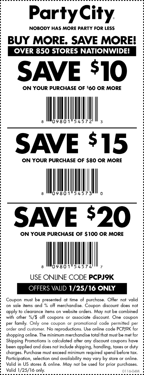 Party City Coupon January 2017 $10 off $60 & more today at Party City, or online via promo code PCPJ9K