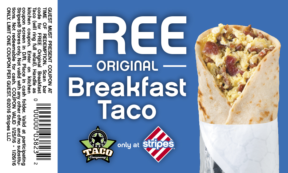 Stripes Coupon July 2017 Free breakfast taco at Stripes gas stations