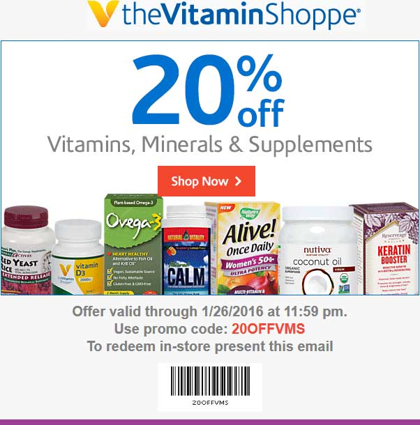 The Vitamin Shoppe Coupon January 2019 20% off at The Vitamin Shoppe, or online via promo code 20OFFVMS