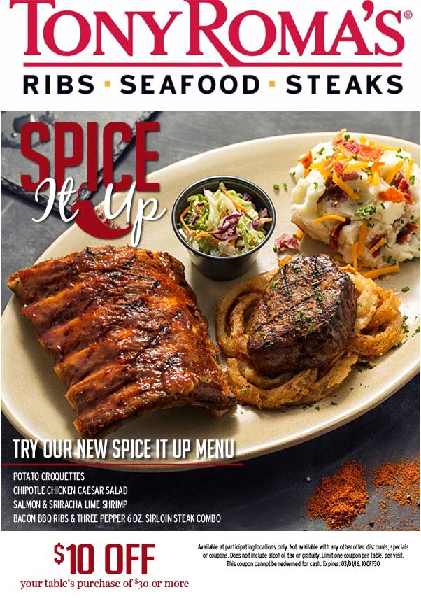 Tony Romas Coupon May 2017 $10 off $30 at Tony Romas