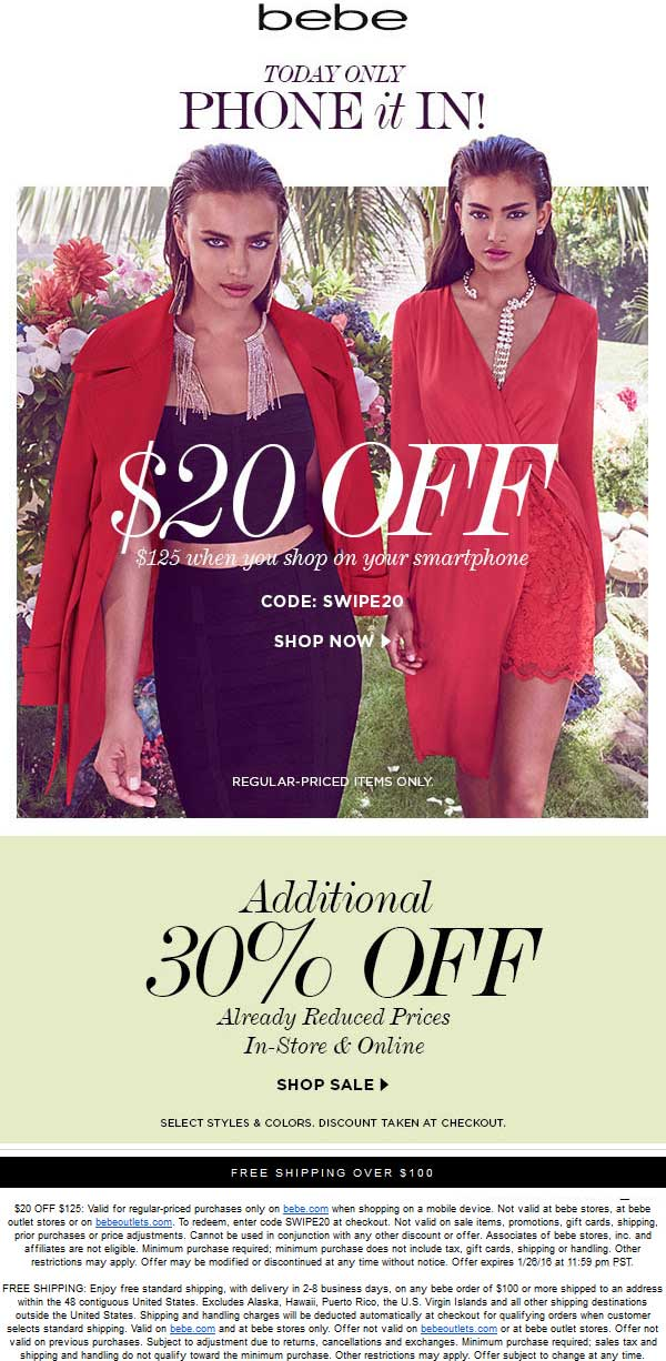 Bebe Coupon April 2018 Extra 30% off sale items at bebe, ditto online
