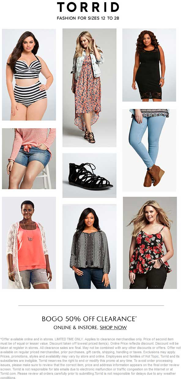 Torrid Coupon April 2017 Second clearance item 50% off at Torrid, ditto online