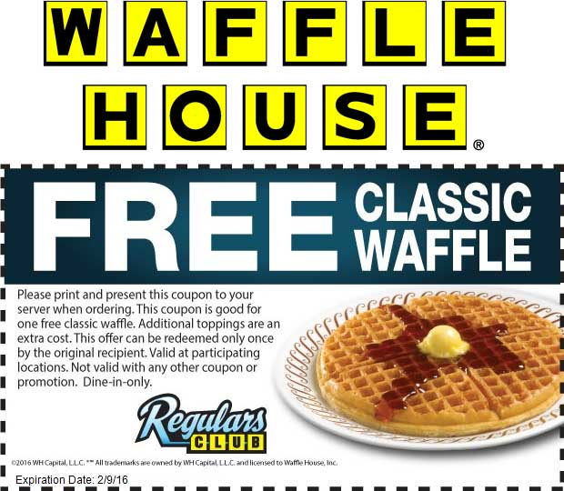 Waffle House Coupon May 2018 Free waffle at Waffle House