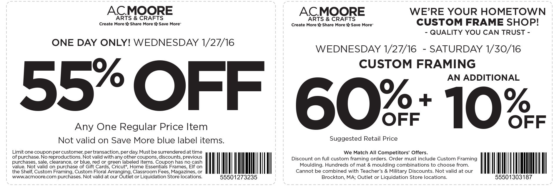A.C. Moore Coupon January 2019 55% off a single item today at A.C. Moore