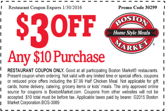 Boston Market Coupon February 2017 $3 off $10 at Boston Market restaurants