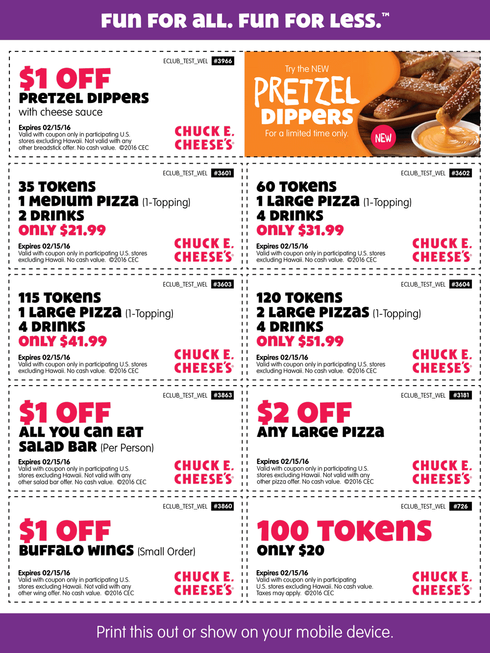 Chuck E. Cheese Coupon May 2018 100 tokens for $20 & more at Chuck E. Cheese
