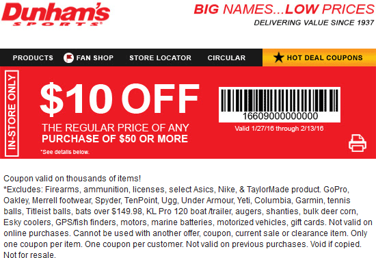 Dunhams Sports Coupon August 2017 $10 off $50 at Dunhams Sports