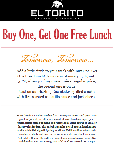 El Torito Coupon October 2018 Second lunch free today at El Torito restaurants