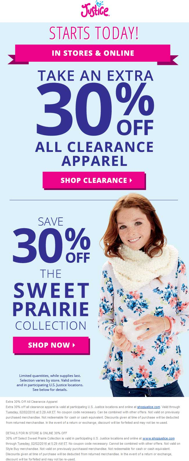 Justice Coupon February 2019 Extra 30% off clearance & prairie collection at Justice, ditto online