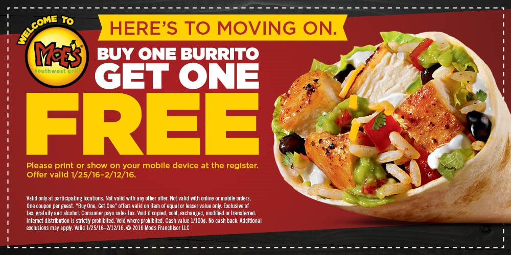 Moes Southwest Grill Coupon June 2019 Second burrito free at Moes Southwest Grill restaurants