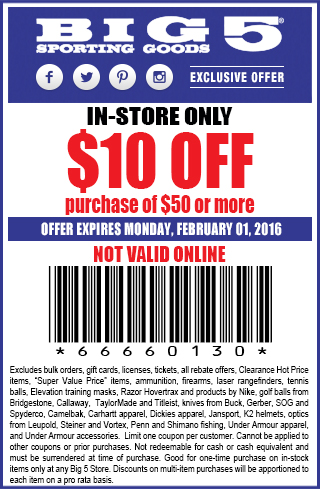 Big 5 Coupon April 2017 $10 off $50 at Big 5 sporting goods