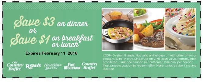 Old Country Buffet Coupon March 2018 $1-$3 off at Ryans, Hometown Buffet, Fire Mountain & Old Country Buffet