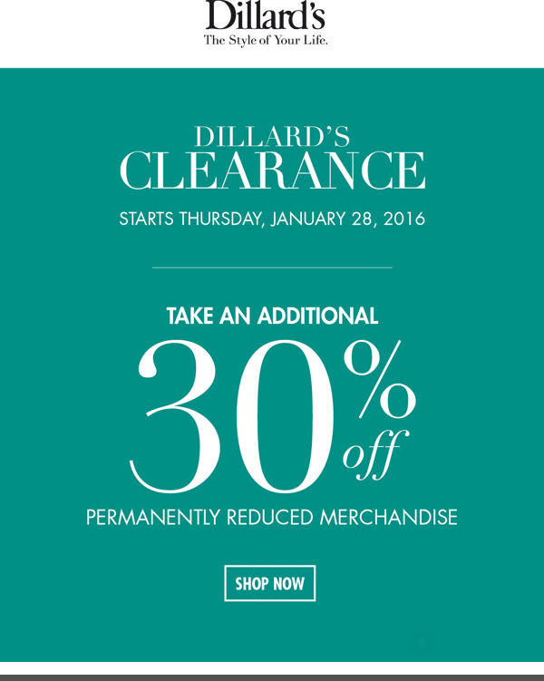 Dillards Coupon December 2017 Extra 30% off clearance at Dillards, ditto online
