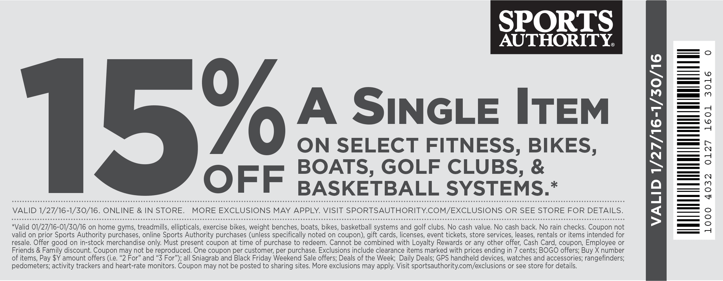 Sports Authority Coupon September 2018 15% off a single big ticket item at Sports Authority, ditto online