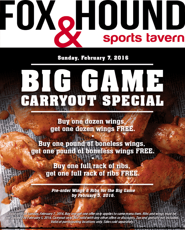Fox & Hound Coupon November 2017 Second dozen takeout wings free the 7th at Fox & Hounds sports tavern