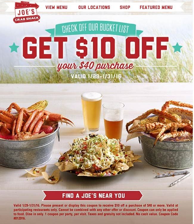 Joes Crab Shack Coupon December 2018 $10 off $40 at Joes Crab Shack restaurants