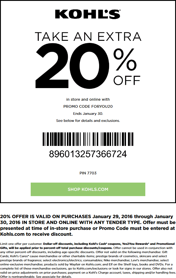 Kohls Coupon July 2018 20% off at Kohls, or online via promo code FORYOU20