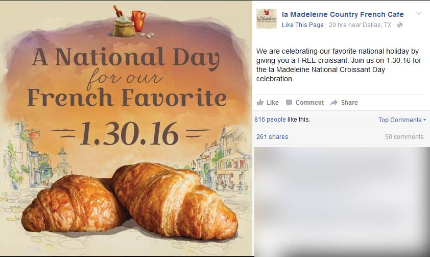 La Madeleine Coupon March 2018 Free croissant Saturday at la Madeleine country French cafe