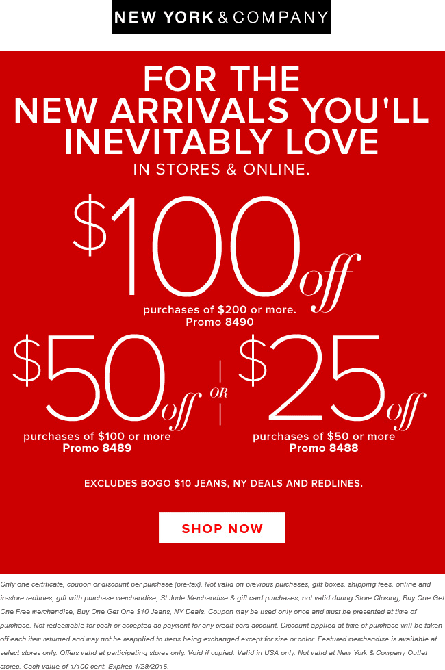 New York & Company Coupon June 2017 $25 off $50 & more today at New York & Company, or online via promo code 8488