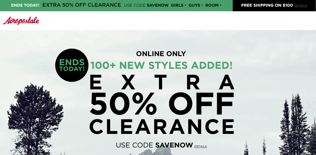 Aeropostale Coupon January 2017 Extra 50% off clearance online today at Aeropostale via promo code SAVENOW