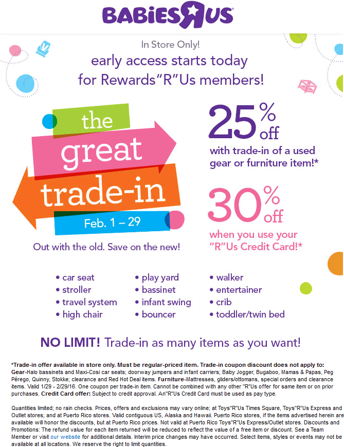 Babies R Us Coupon February 2019 Trade in used baby gear for 25% off at Babies R Us