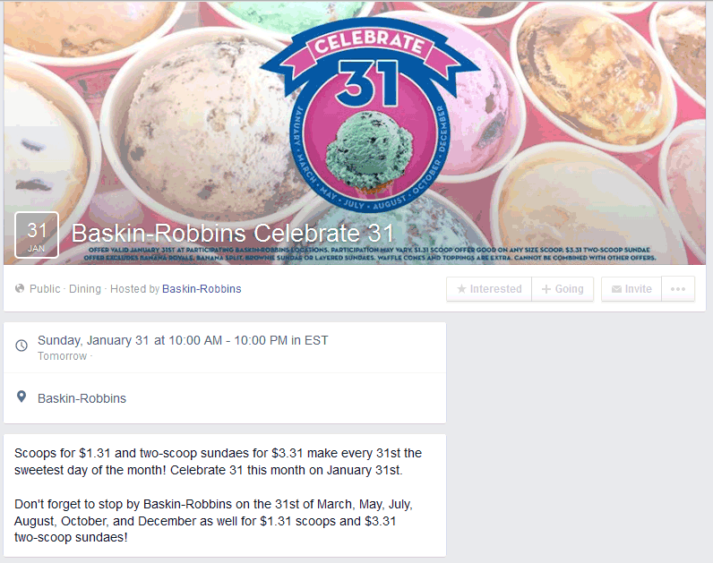 Baskin Robbins Coupon February 2019 Ice cream scoops for $1.31 Sunday at Baskin Robbins