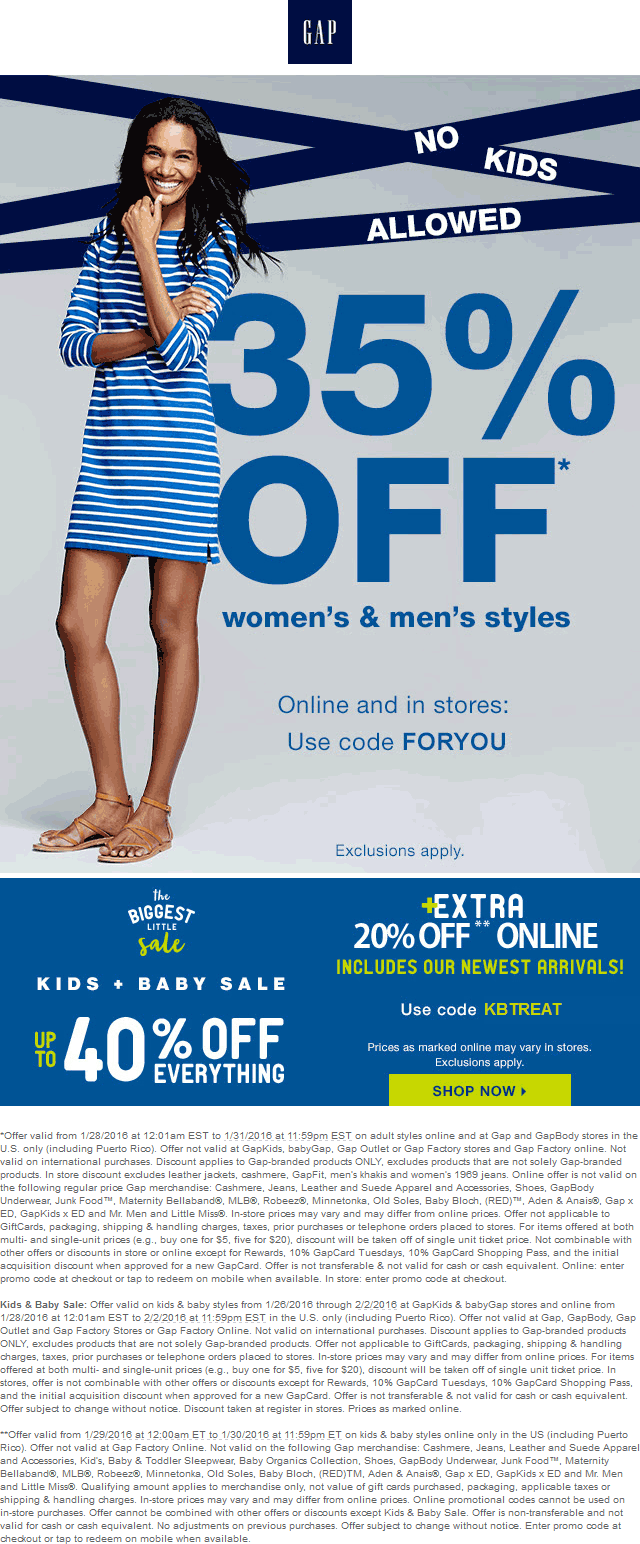Gap Coupon November 2018 35% off & more at Gap, or online via promo code FORYOU