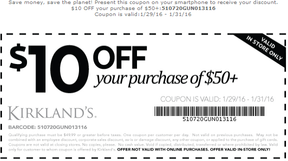 Kirklands Coupon April 2017 $10 off $50 at Kirklands, or $20 off $100 online via promo code BIGSAVINGS