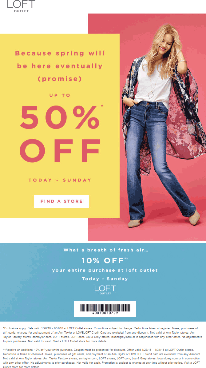 LOFT Outlet Coupon October 2017 Extra 10-50% off at LOFT Outlet