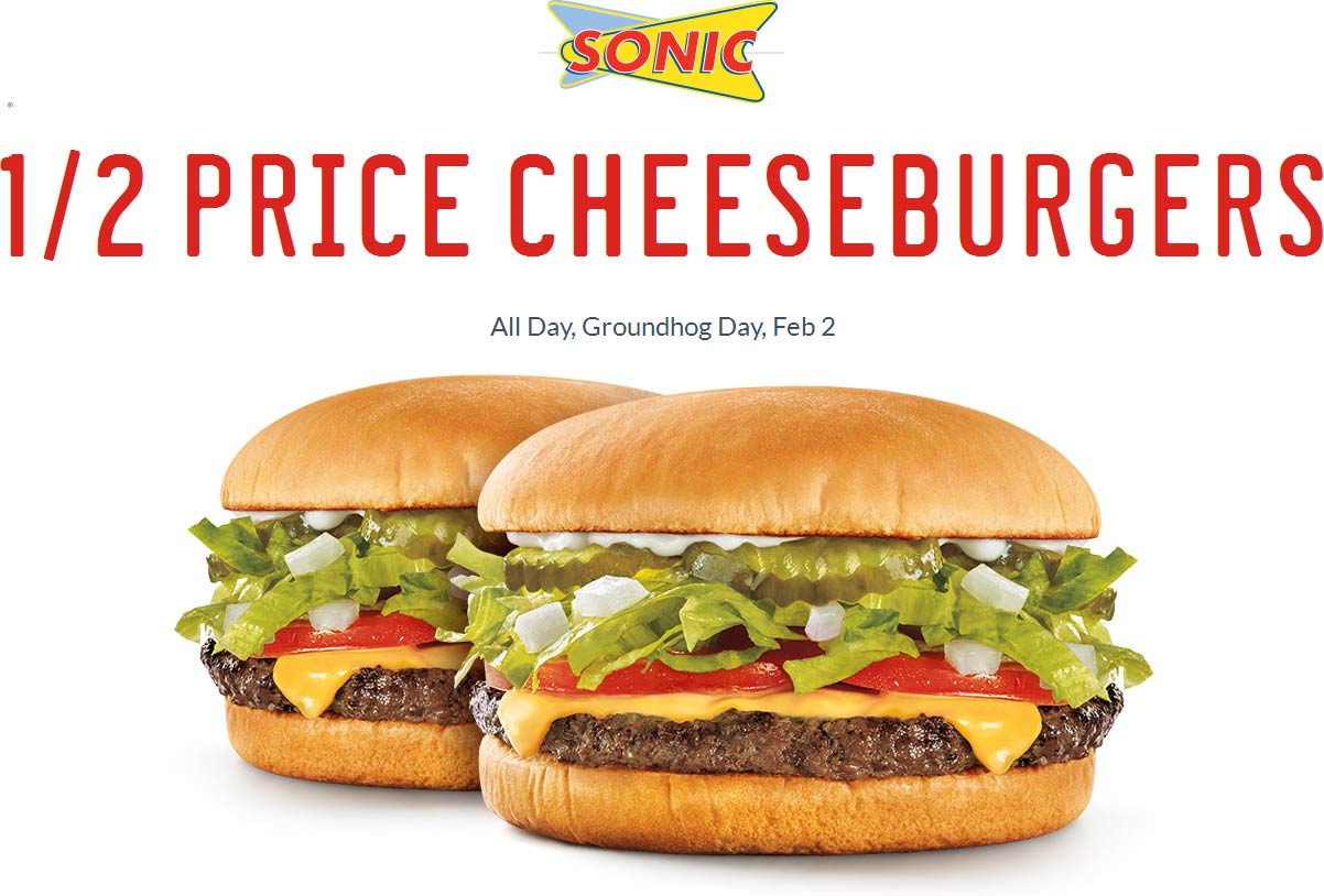 Sonic Drive-In Coupon November 2018 50% off cheeseburgers Tuesday at Sonic Drive-In