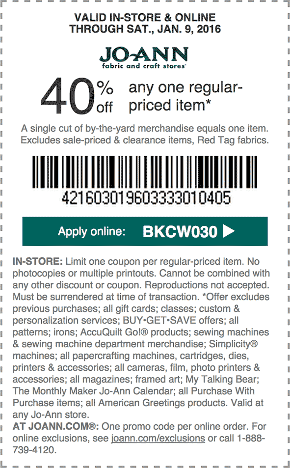 Jo-Ann.com Promo Coupon 40% off a single item at Jo-Ann Fabric, or online via promo code BKCW030
