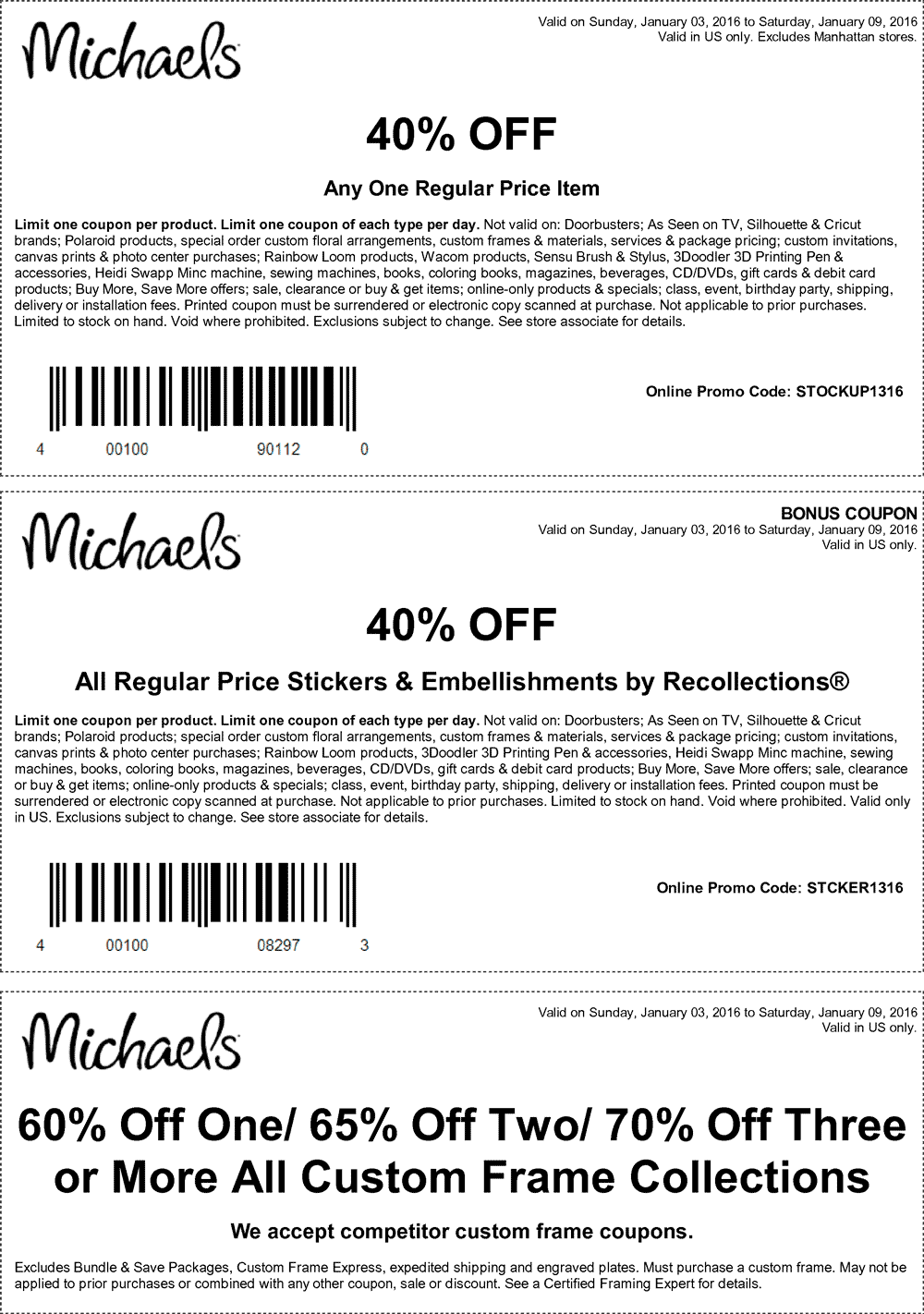 Michaels Coupon March 2018 40% off a single item & more at Michaels, or online via promo code STOCKUP1316